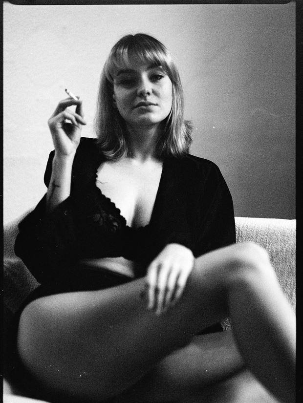 lani smokes lingerie photo print by photographer marcvonmartial