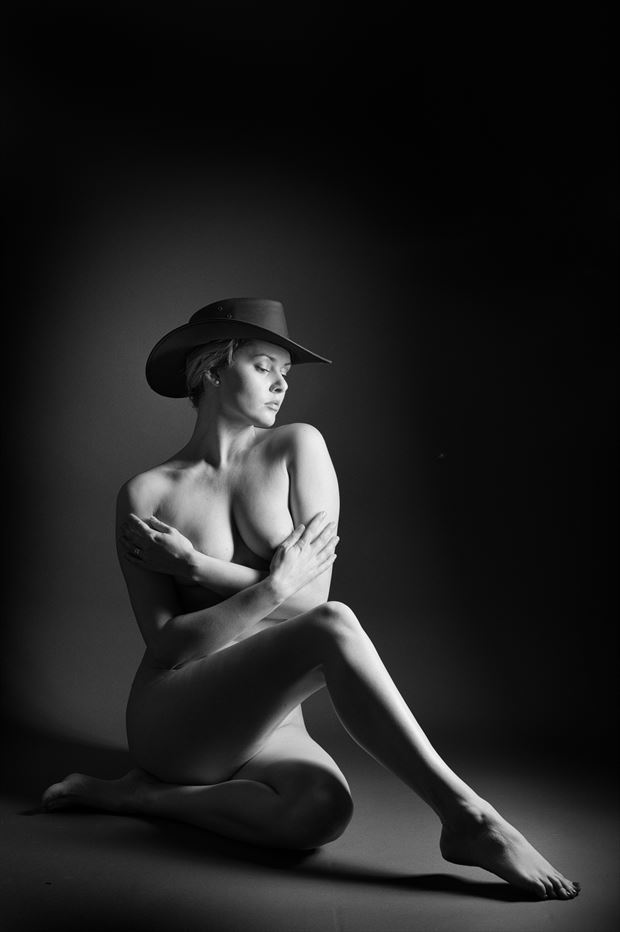 leave your hat on artistic nude photo print by photographer colin dixon