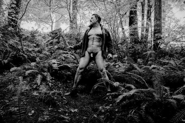 lumberjack bw 2 artistic nude photo print by photographer barry gallegos