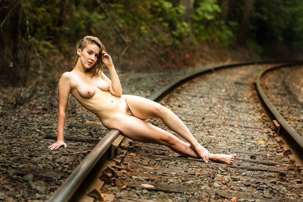 ma on rr tracks artistic nude photo print by photographer joe klune fine art