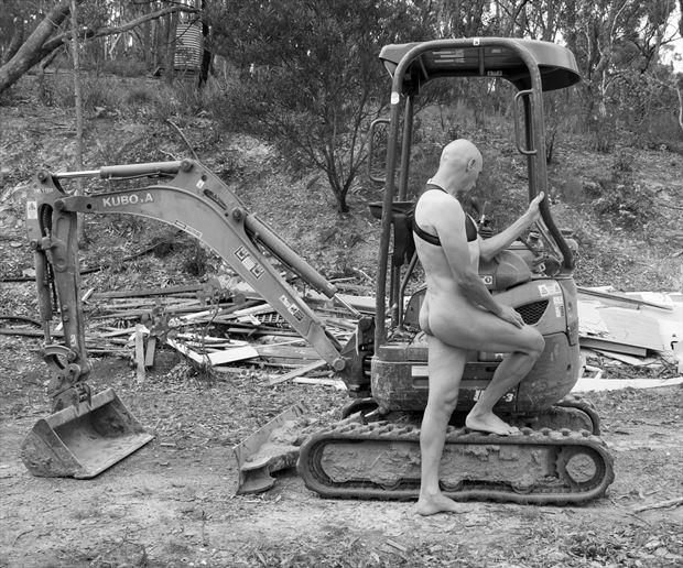 man and machine artistic nude photo print by model artmodel richard