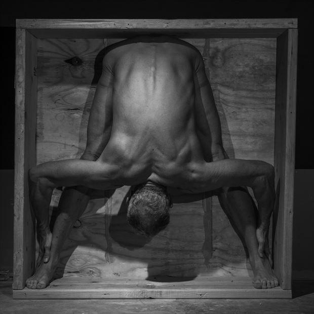 man in box artistic nude photo print by model artfitnessmodel