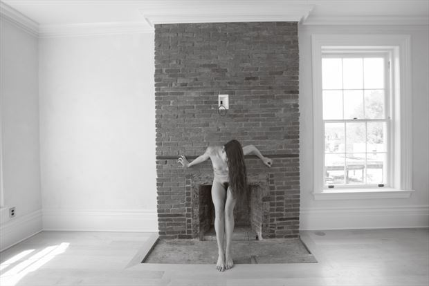 mantel cross artistic nude photo print by photographer michael grace martin
