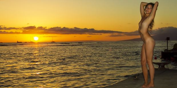 nekkid sunset artistic nude photo print by photographer opp_photog