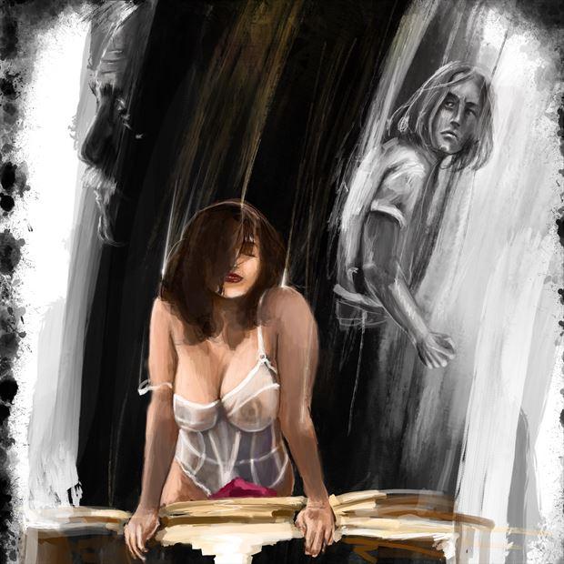 nior devi 3 lingerie artwork print by artist nick kozis