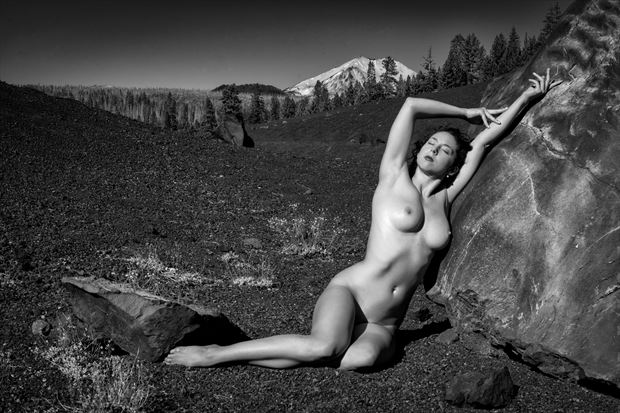 nude in volcanic landscape artistic nude photo print by photographer philip turner