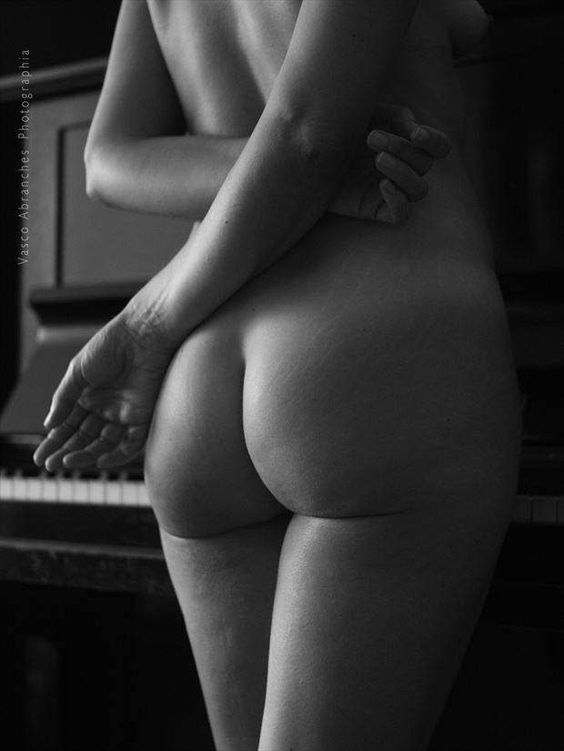 nude study with piano erotic photo print by photographer vasco abranches