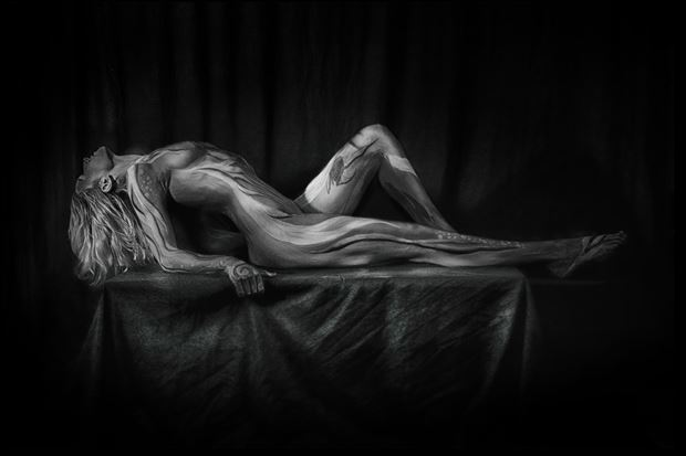 painted lady artistic nude photo print by photographer bill milward