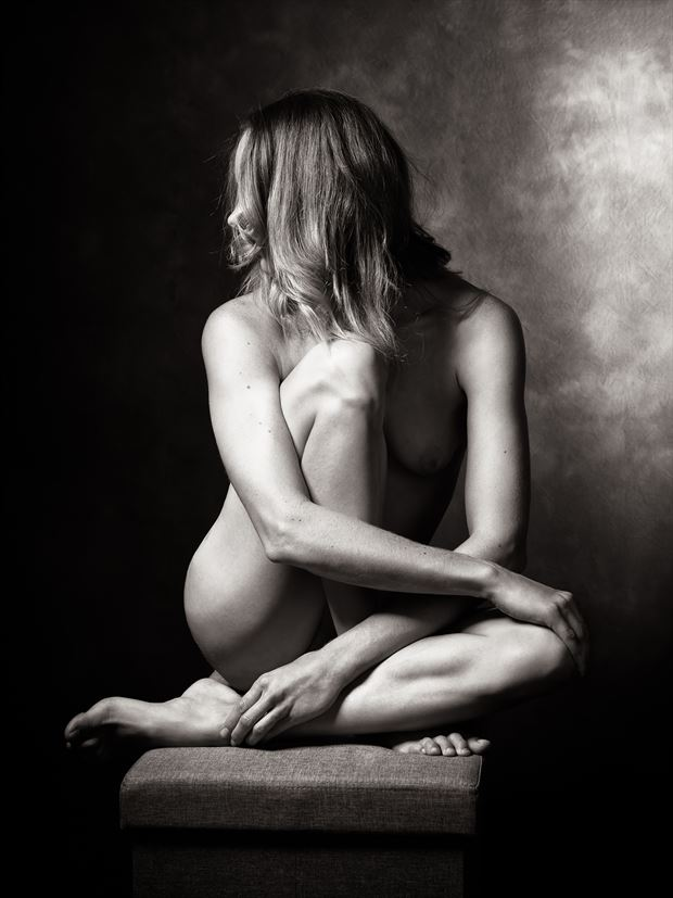 poised as a statue artistic nude photo print by model alexandra queen