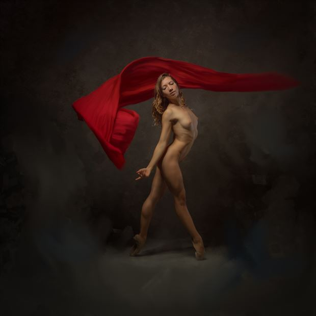 poppyseed dancer painted with red cloth artistic nude photo print by photographer doc list