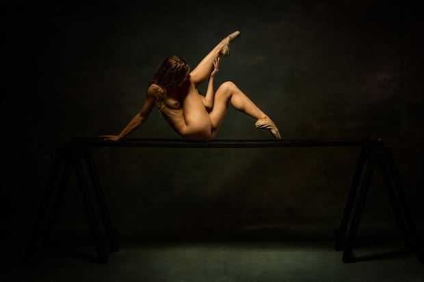 poppyseed dancer twisted on the plank artistic nude photo print by photographer doc list