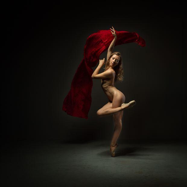 poppyseed dancer with red fabric 2 artistic nude photo print by photographer doc list