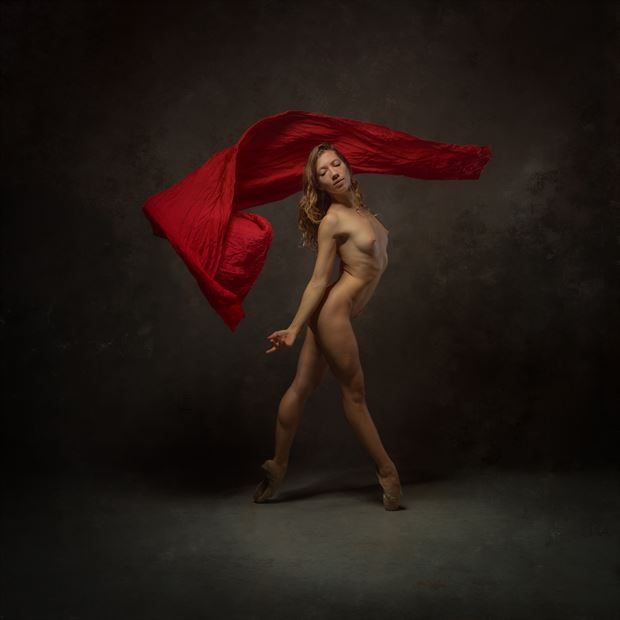 poppyseed dancer with red fabric artistic nude photo print by photographer doc list