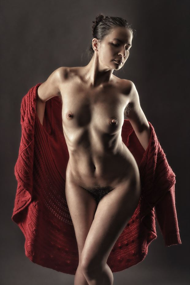 red cape artistic nude photo print by photographer rick jolson
