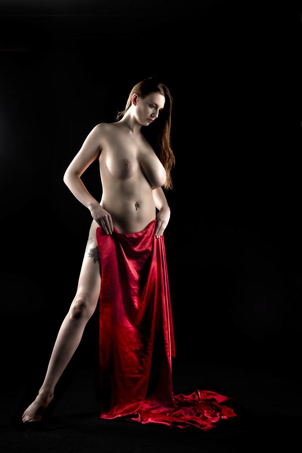 red fabric artistic nude photo print by photographer ken greenhorn