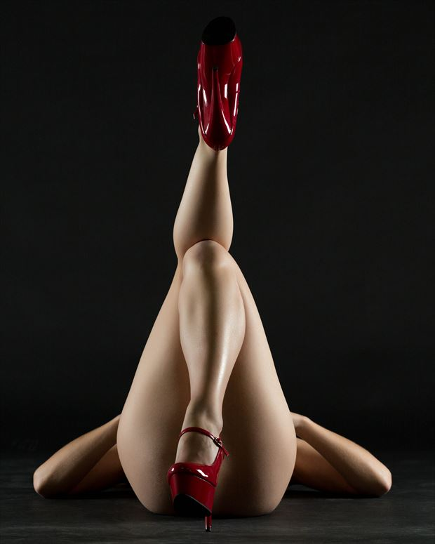 red shoe symmetry artistic nude photo print by photographer stephen wong