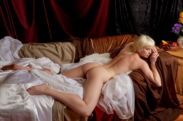 resting artistic nude photo print by photographer tfa photography