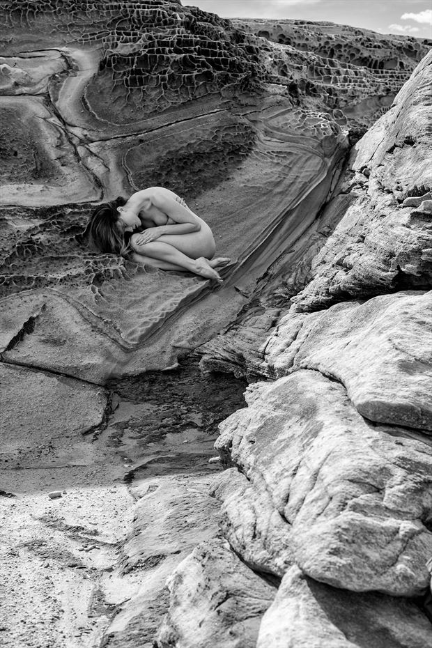 rocks and curves artistic nude photo print by photographer stephen wong