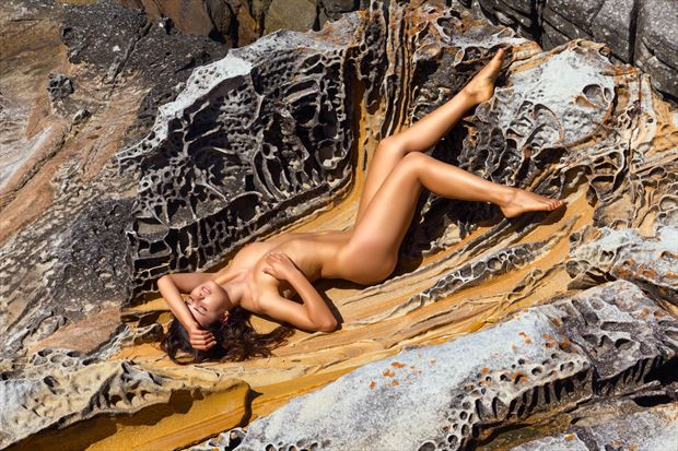 rocky sunbed artistic nude photo print by photographer stephen wong