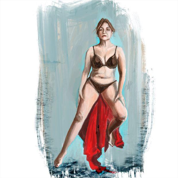 sally 1 bikini artwork print by artist nick kozis