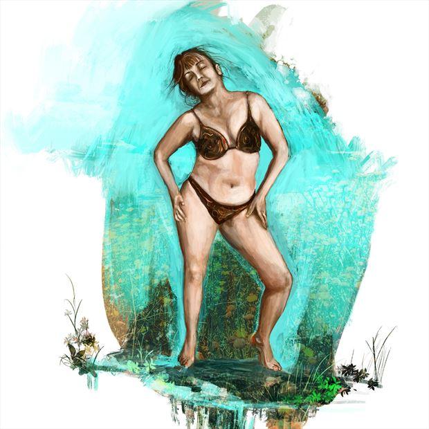 sally 2 bikini artwork print by artist nick kozis