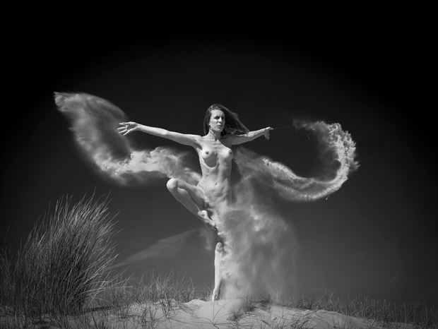 sand butterfly artistic nude photo print by photographer louis sauter