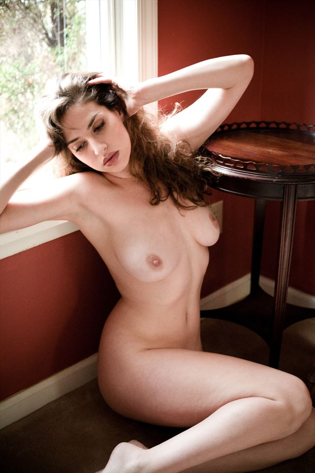 sarah at the window in the red room artistic nude photo print by photographer michael grace martin