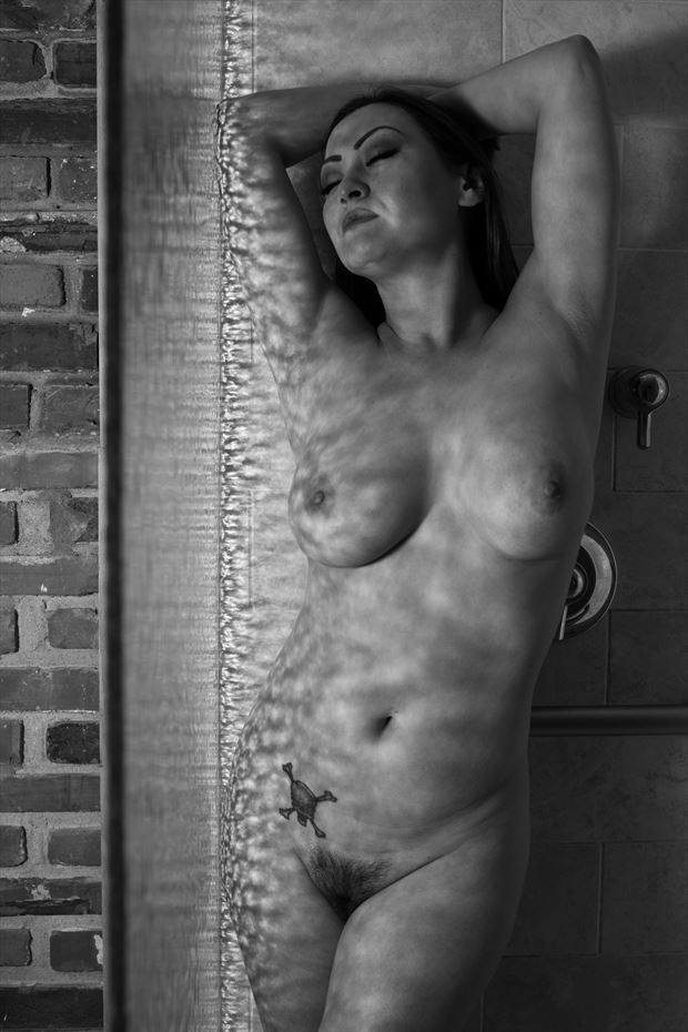 shower glass artistic nude photo print by photographer gsphotoguy