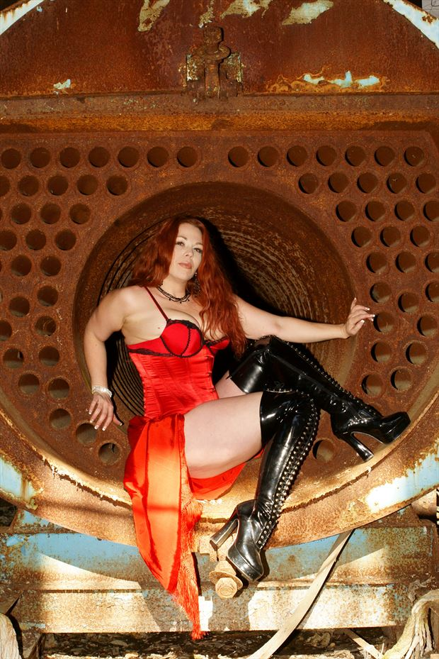 sitting inside of a industrial boiler glamour photo print by photographer csdewittphotography
