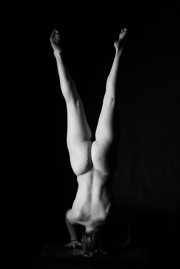 split headstand artistic nude photo print by photographer gsphotoguy