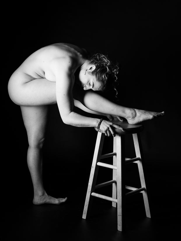 stretching nude artistic nude photo print by photographer gsphotoguy