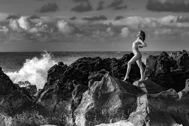 the siren and the sea artistic nude photo print by photographer opp_photog
