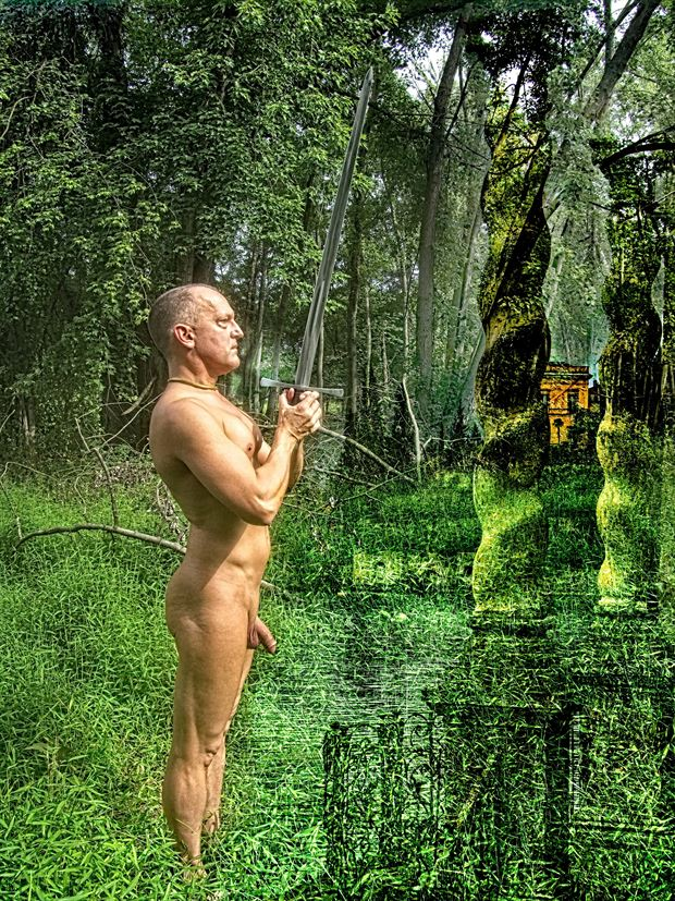 the swordsman artistic nude photo print by model avid light