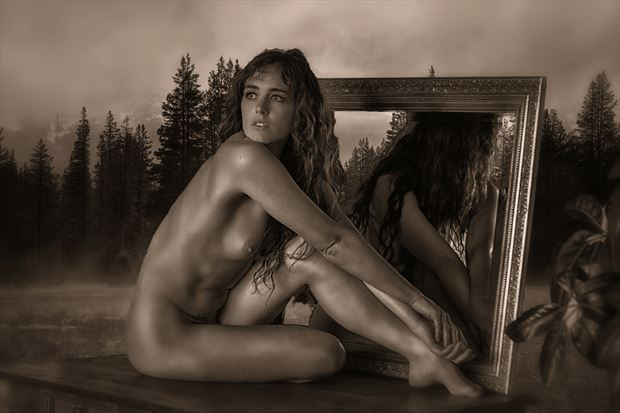 to lie in the meadow artistic nude photo print by photographer philip turner