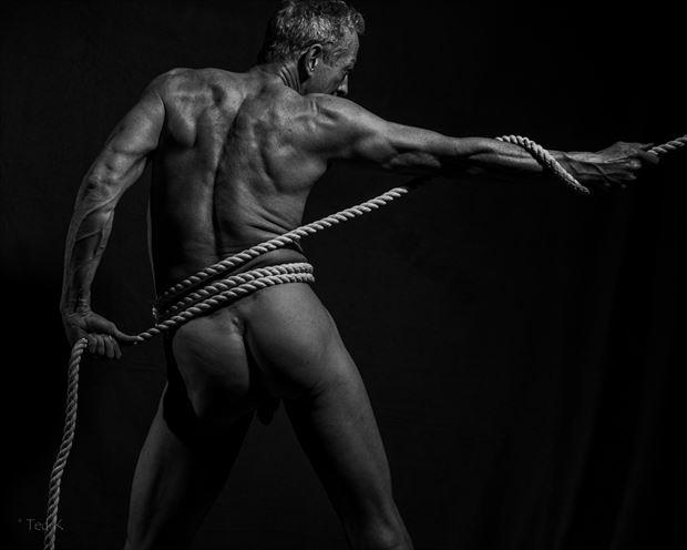 tug of war artistic nude photo print by model artfitnessmodel
