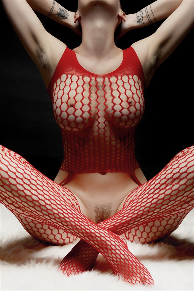 under the cover of red mesh artistic nude photo print by photographer philip turner