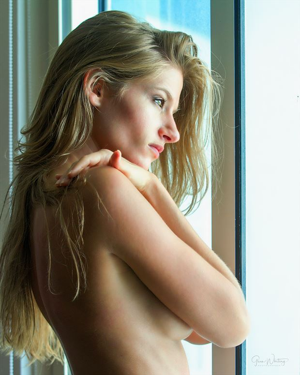 waiting at the window sensual photo print by photographer glenndcp