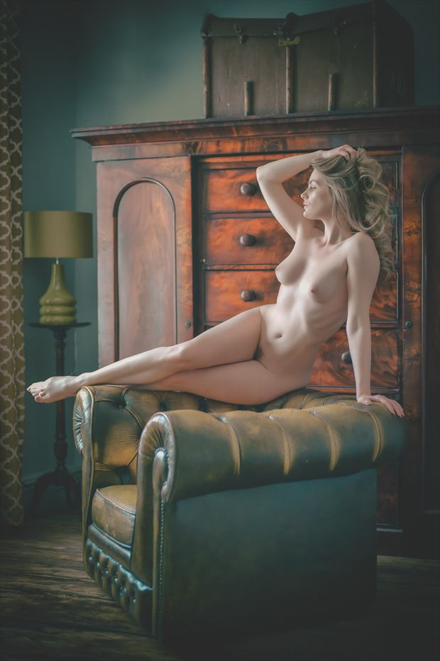 waiting in the drawing room artistic nude photo print by photographer colin dixon