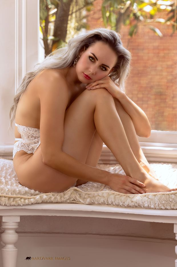 white lace no 3 artistic nude photo print by model alexandra queen