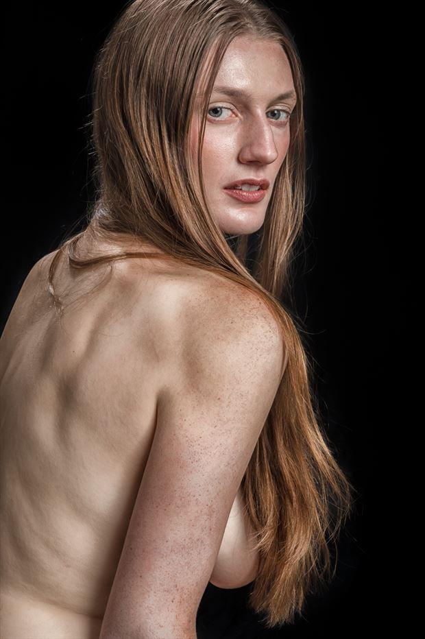 womanly gaze studio lighting photo print by photographer rick jolson